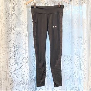 Nike Dri-Fit black gray print leggings long pants
